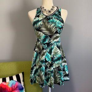 VS PINK Leaf Print Fit & Flare Mini Dress C9